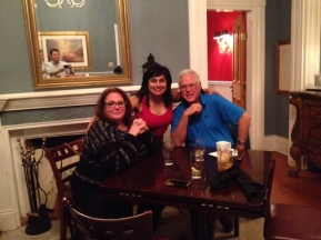 Monsieur and Madame LeMans hosting dinner at Oak Tree Tavern, VIR. Handsome hubby in mirror. I very courageously wore red. Still scary to me.