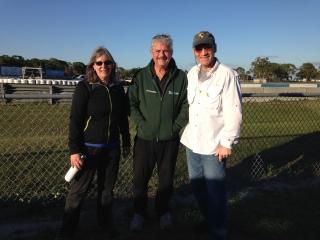 Carol N, Mike J, and Jim N soaking in the breezy sunshine at 48 Hours of Sebring in Feb 2016.